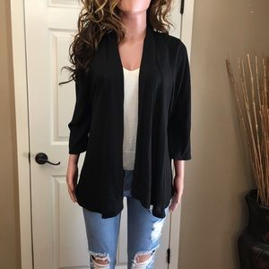 Black knit open cardigan